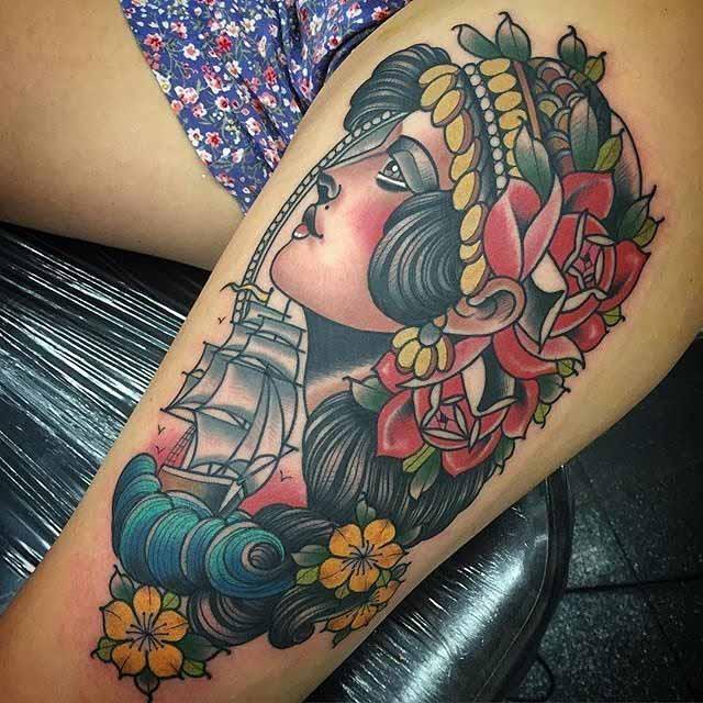 thigh tattoo nautical design
