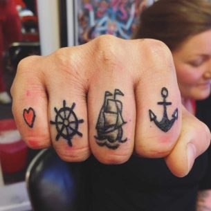 Nautical Tattoos on Fingers