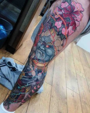 Neo-Japanese Tattoo on Leg