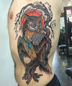 Owl Side Tattoo