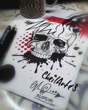 Paint Skull Trash Polka Tattoo Idea