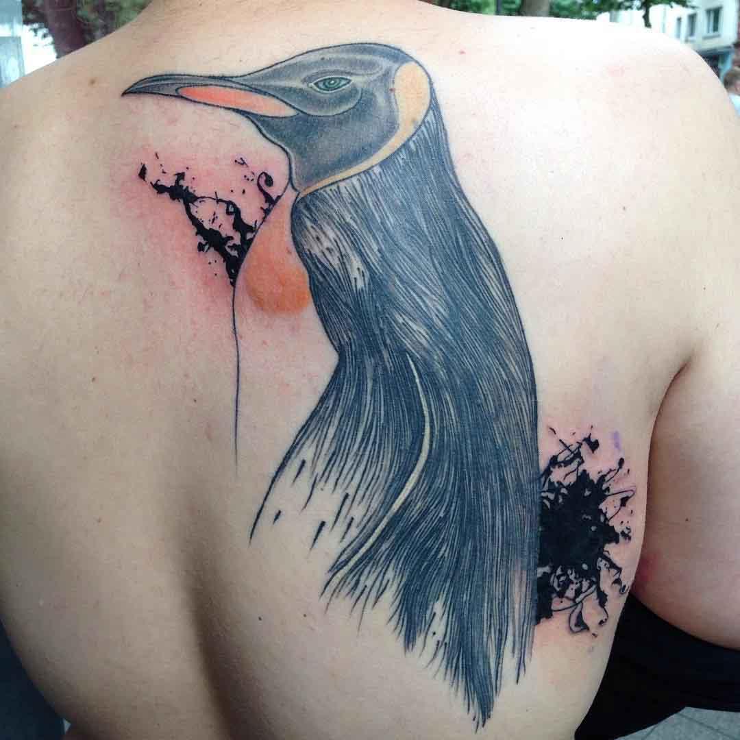 back tattoo penguin