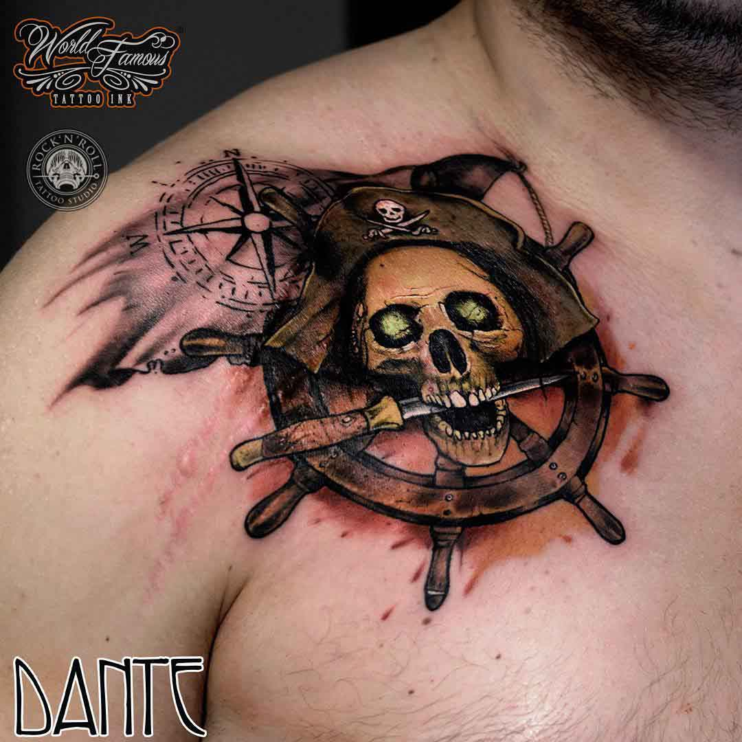 skull tattoo pirate stern