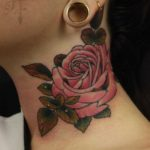Rose Tattoo on Neck Side