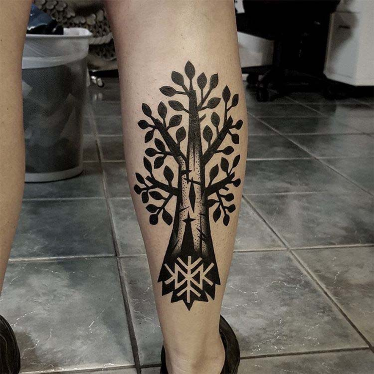 calf tattoo tree with runes