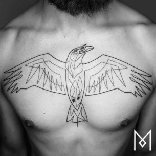 Single Line Tattoo on Chest