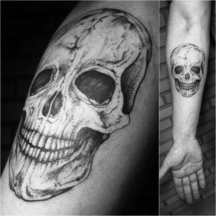 forearm classic skull tattoo