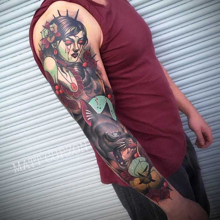 sleeve tattoo zombie themed