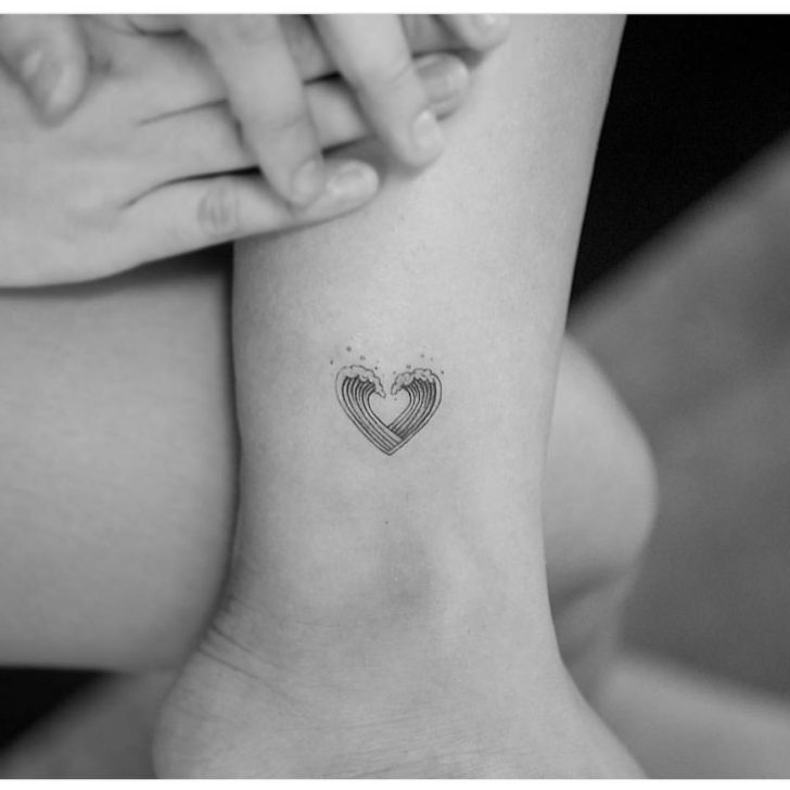 small tattoo heart of waves