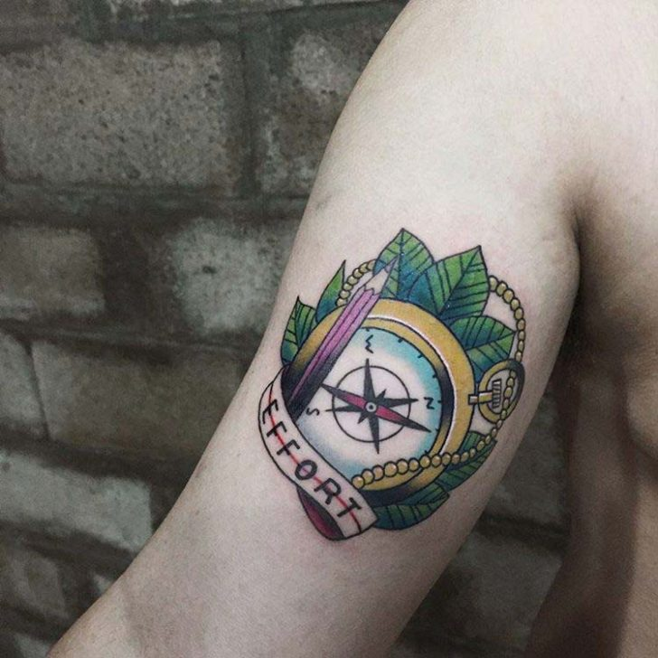 bicep tattoo compass