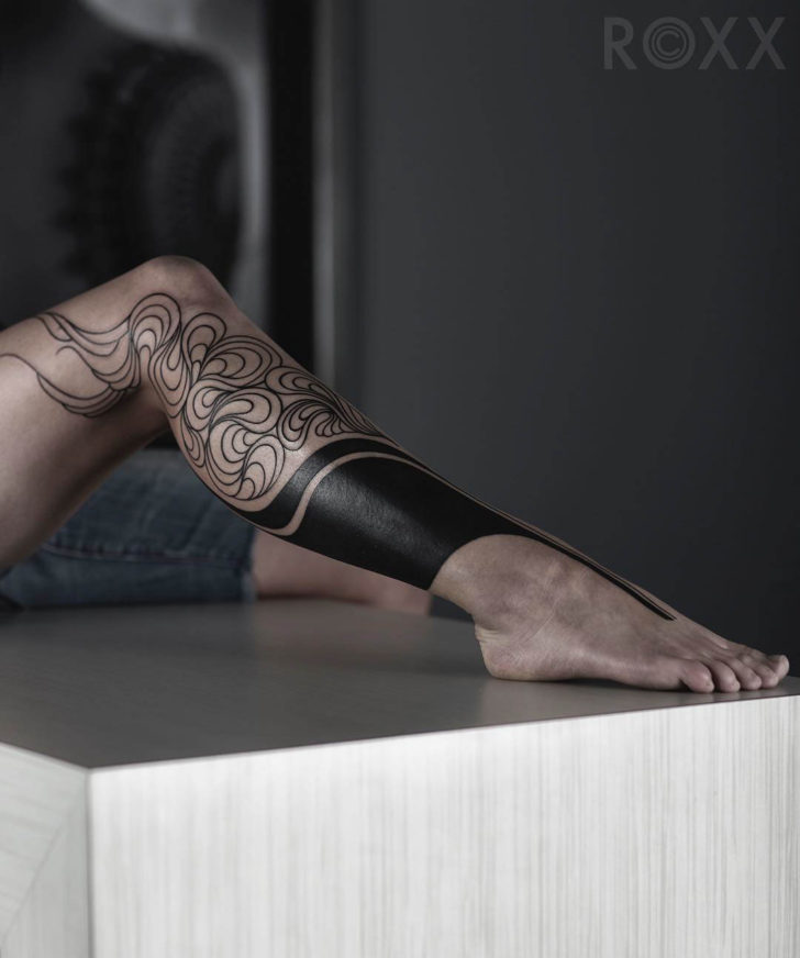 leg tattoo female blackwork
