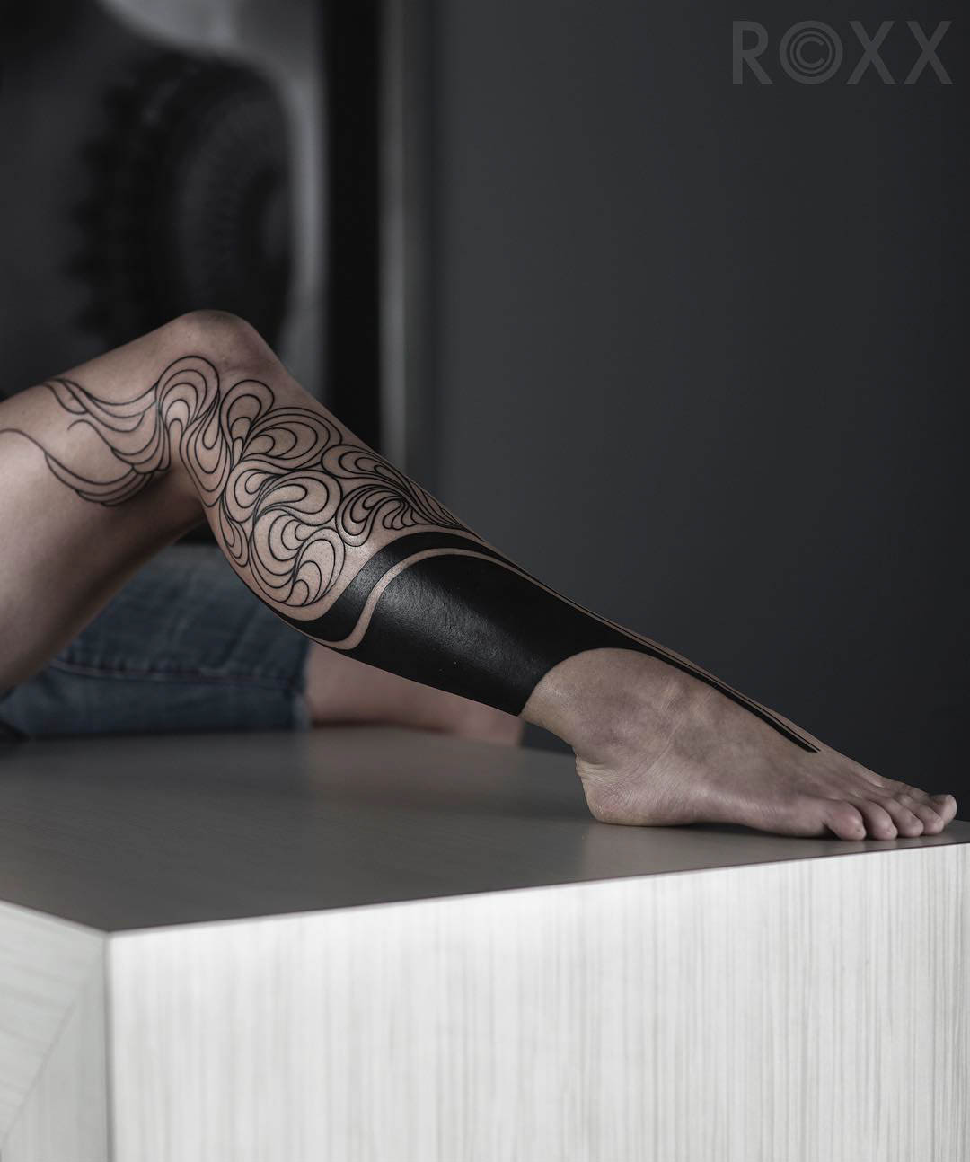 leg tattoo female blackwork