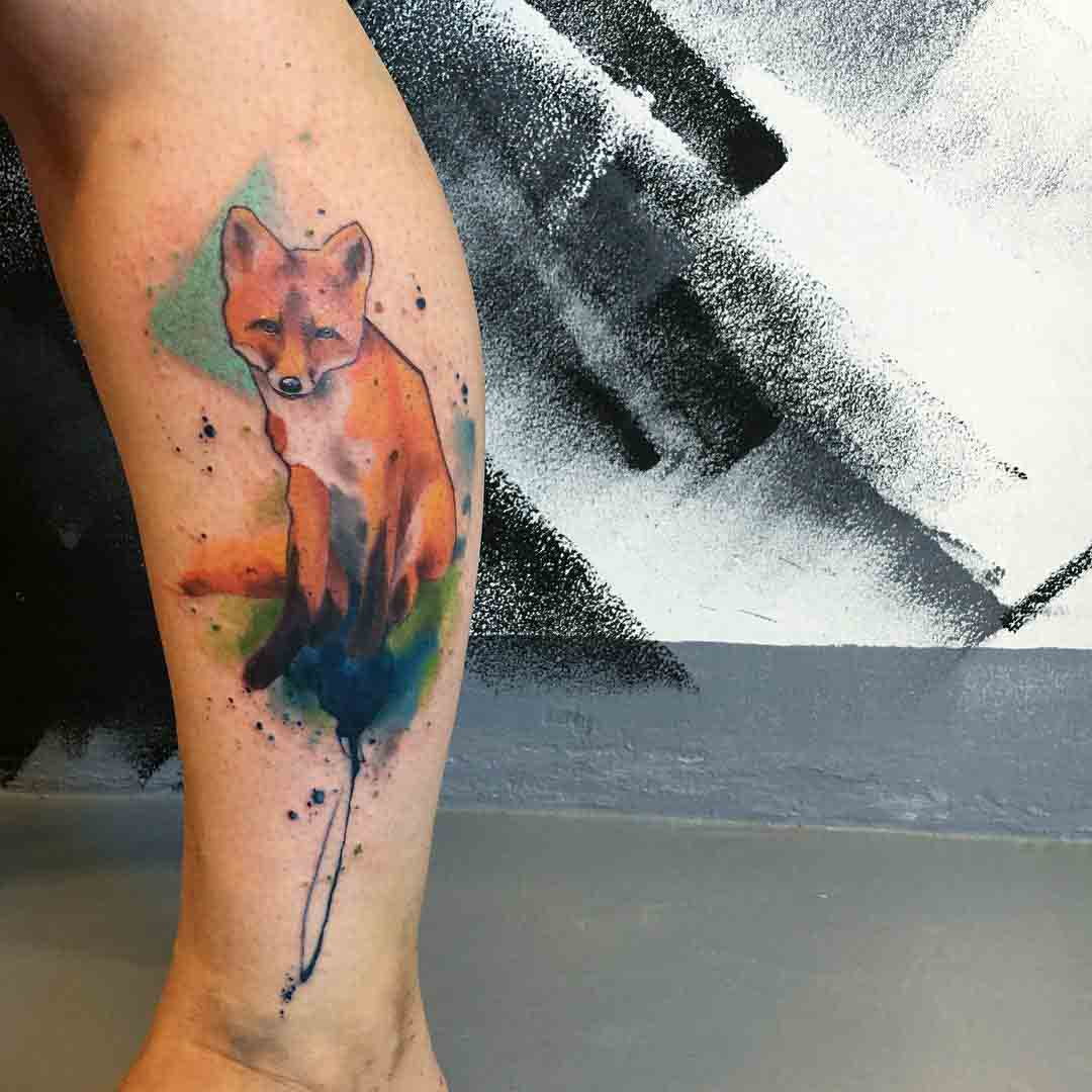 watercolor red fox tattoo