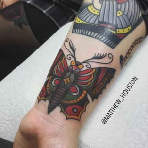 Traditional Butterfly Tattoo on Wrist