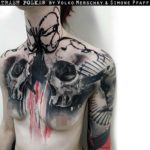 skulls tattoo on chest trash polka style