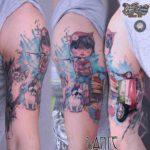Travelling Girl Tattoo on Shoulder