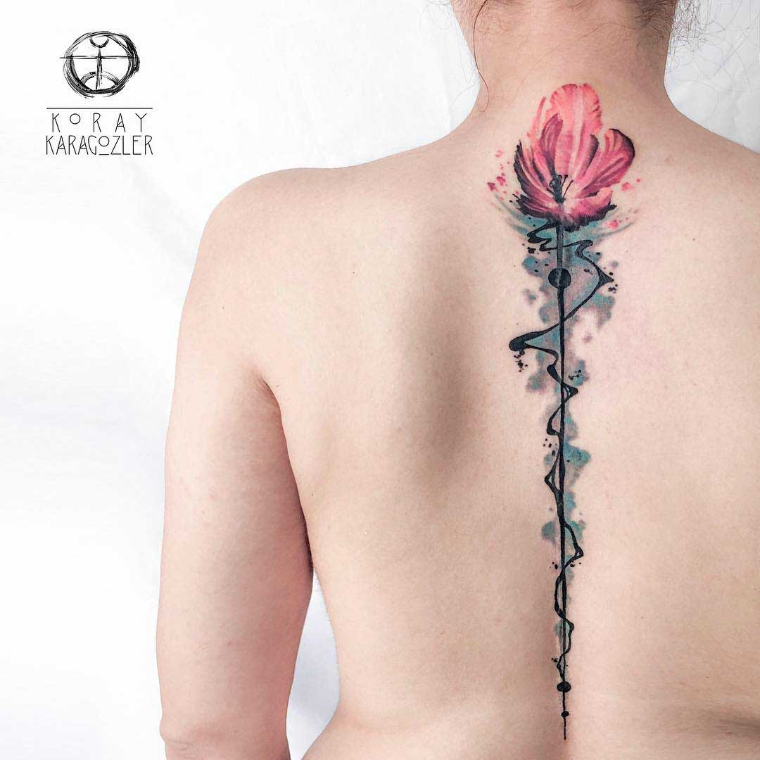 back tattoo tulip watercolor
