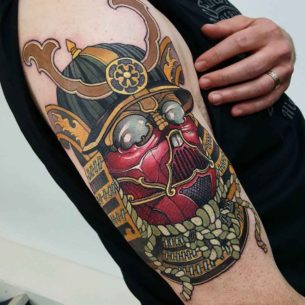 Vader Samurai Tattoo on Shoulder