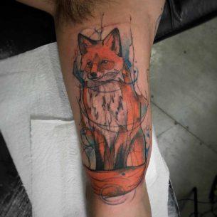 Watercolour Fox Tattoo