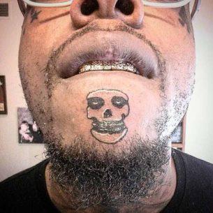 Weird Skull Tattoo on Chin