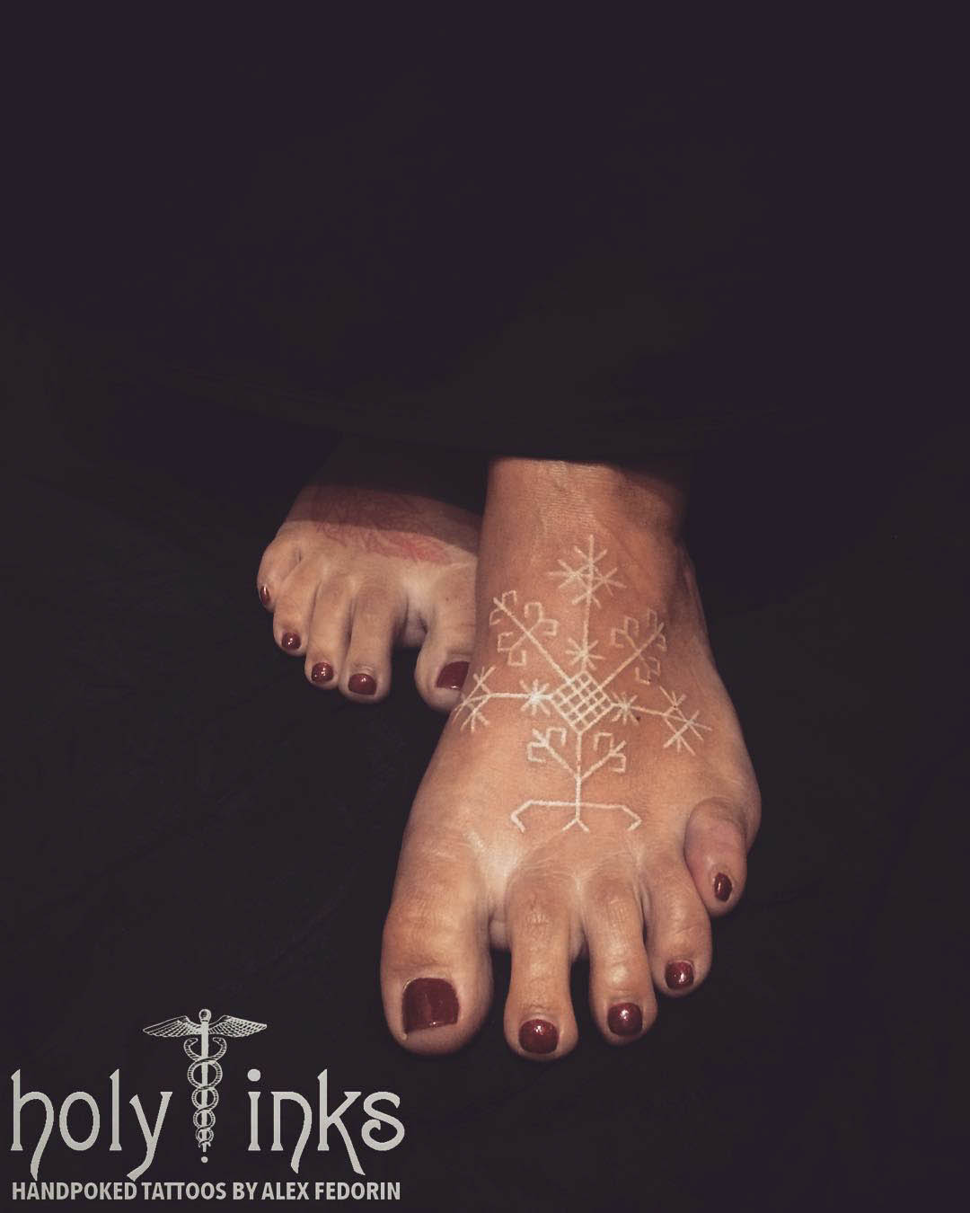 White Foot Tattoo by Alex Fedorin