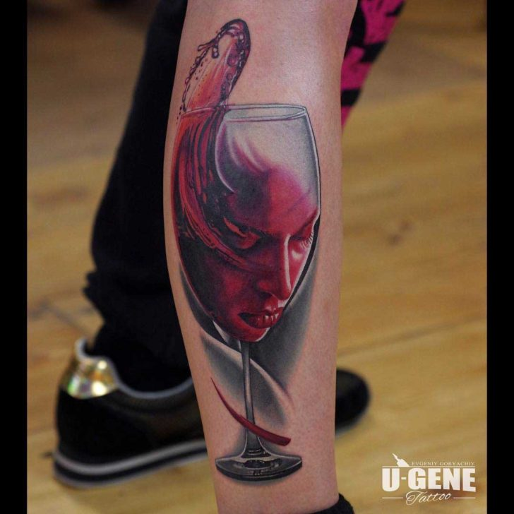 wine glass tattoo with face