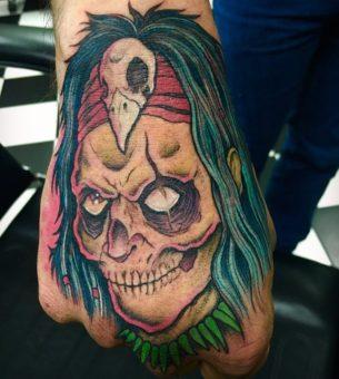 Zombie witch doctor tattoo