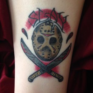 Friday the 13th mask tattoo