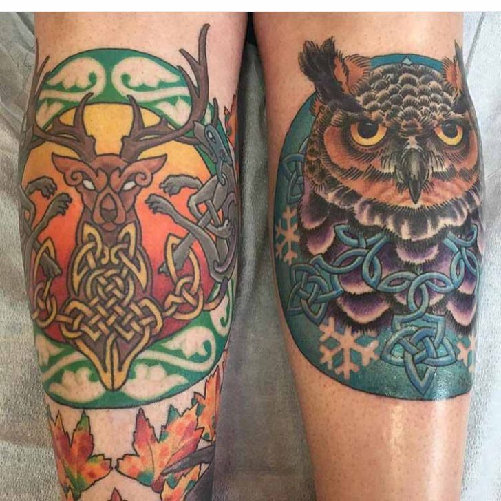 Deer and Owl Celtic Tattoos by Scottie DeVille