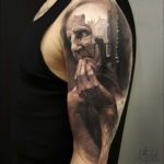amazing 3D portrait tattoo on shoulder