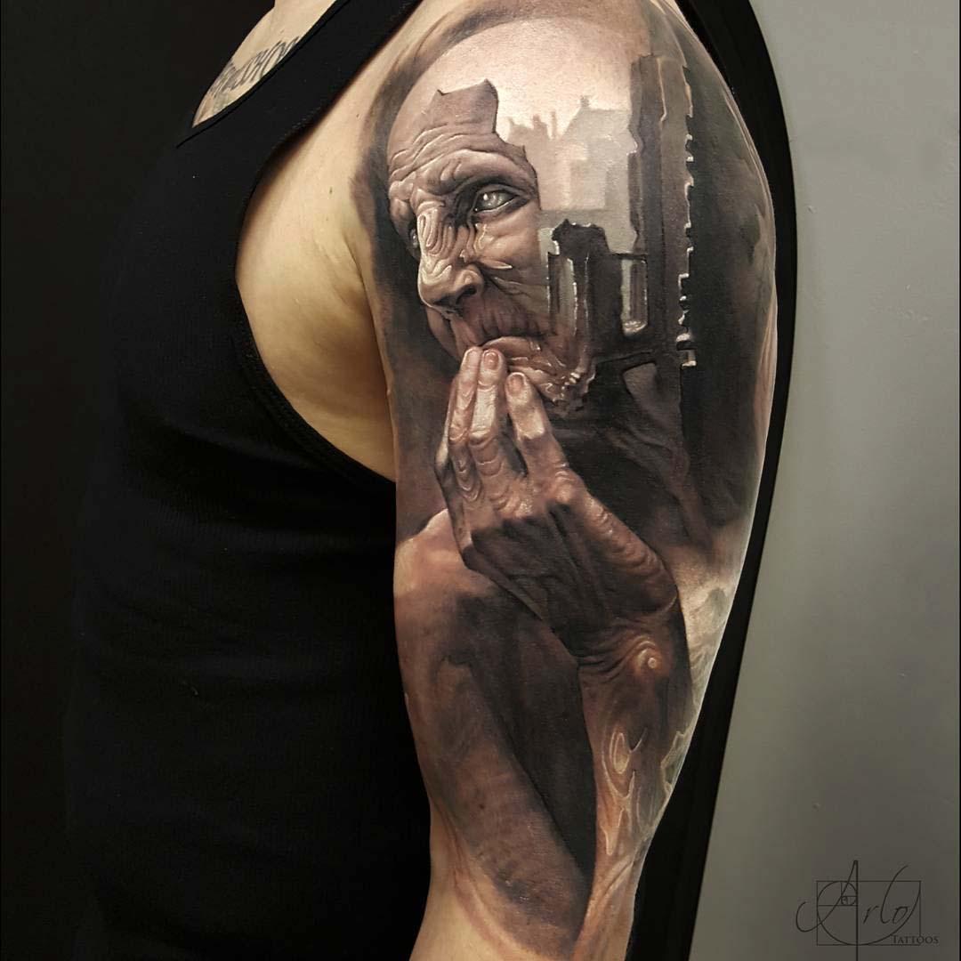 amazing 3D portrait tattoo on shoulder