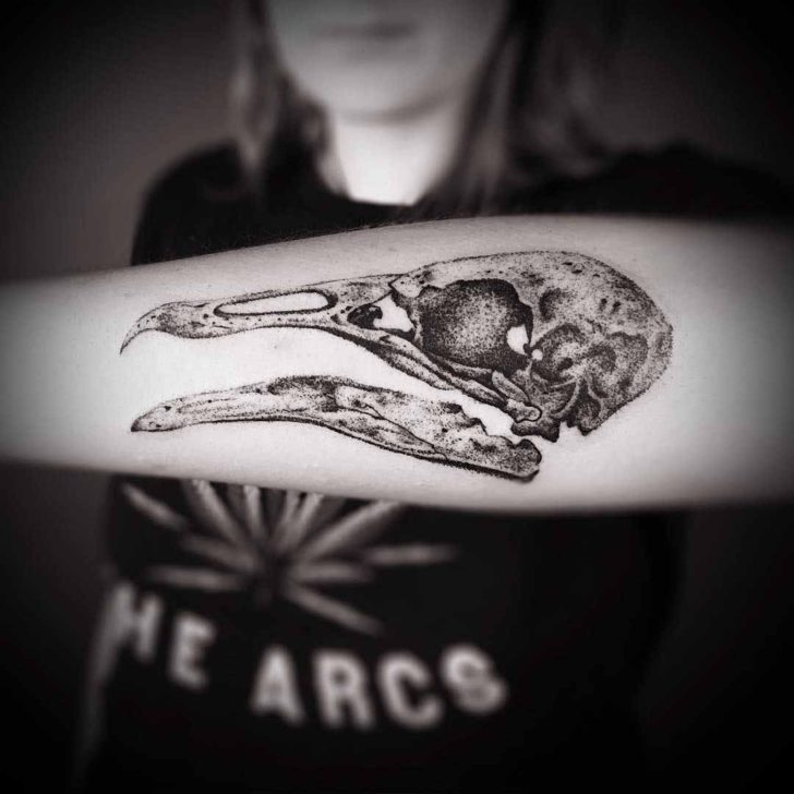 forearm tattoo skull of the bird
