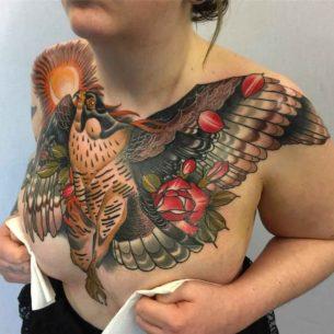 Big Hawk Tattoo on Chest
