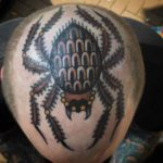 spider tattoo on head traditional