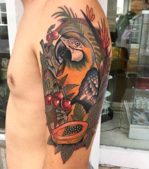 Cherry Parrot Tattoo on Shoulder