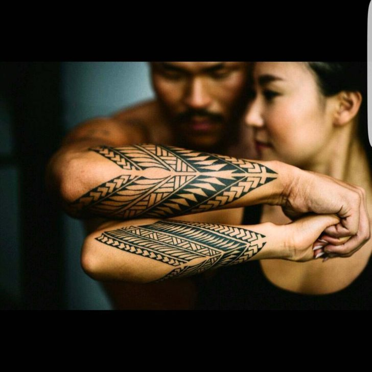 forearm tattoos for couples tribal style