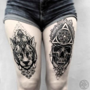 Dark Thigh Tattoos
