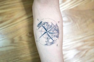 Dotwork Tattoo Compass and Earth