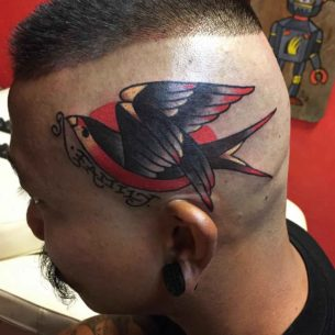 Family Bird Tattoo on Head