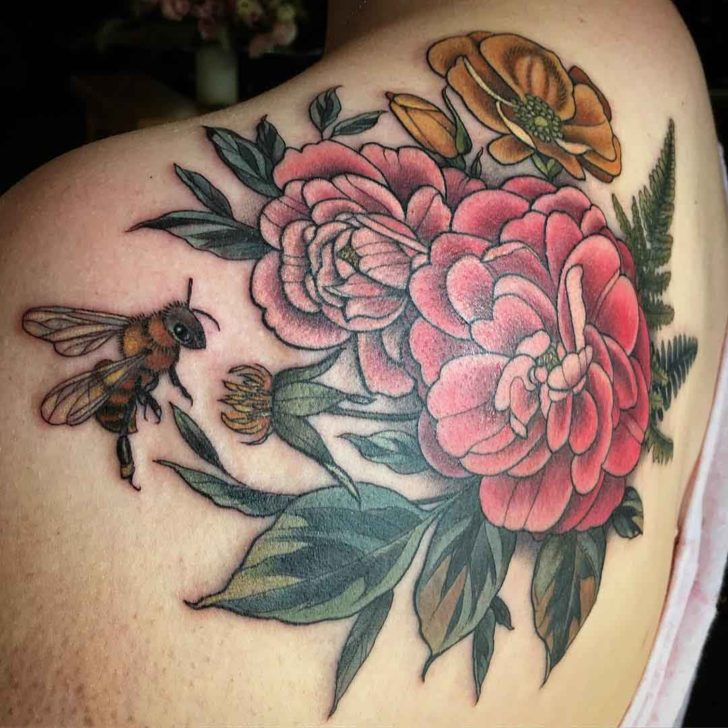 shoulder blade tattoo floral