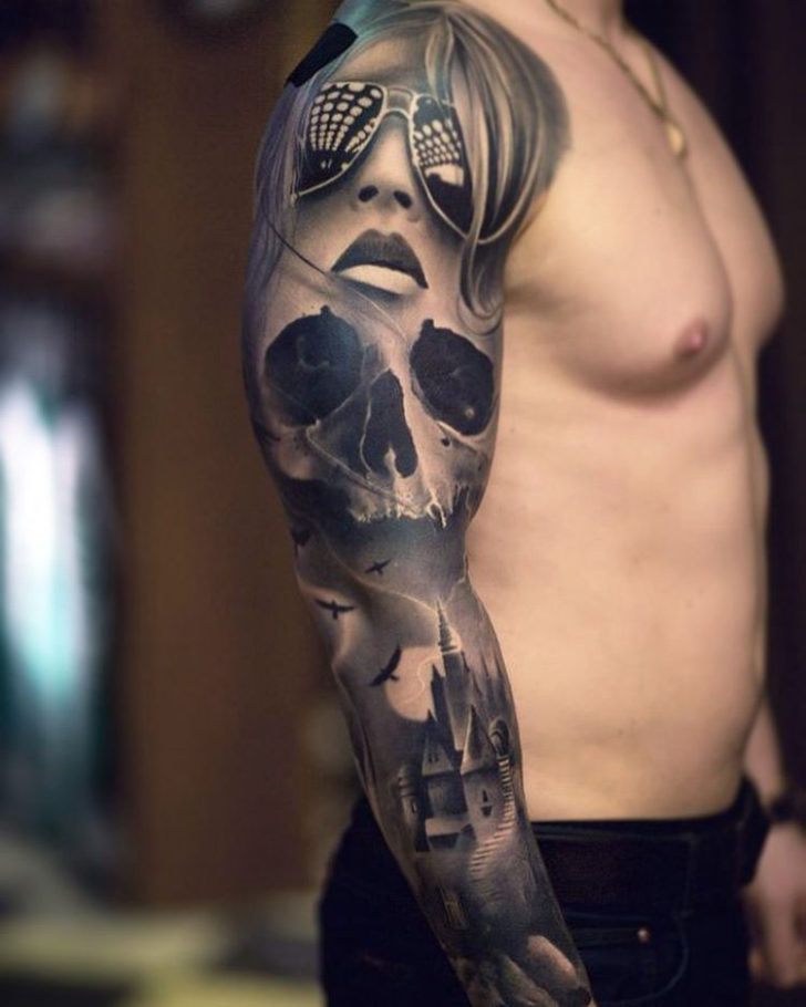 black and grey full sleeve tattoo