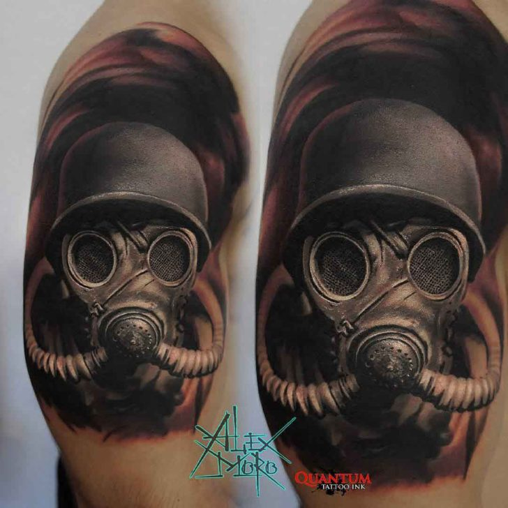 realistic tattoo gas mask on shoulder
