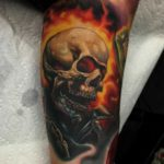 skull flame ghost rider tattoo