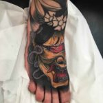 japanese foot tattoo hannya mask