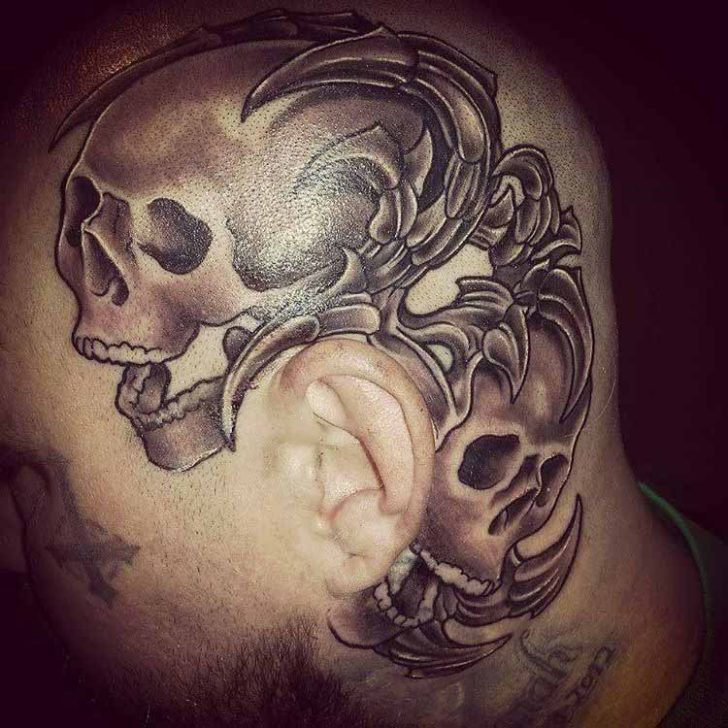 skulls tattoo on head
