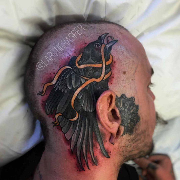 side head tattoo crow