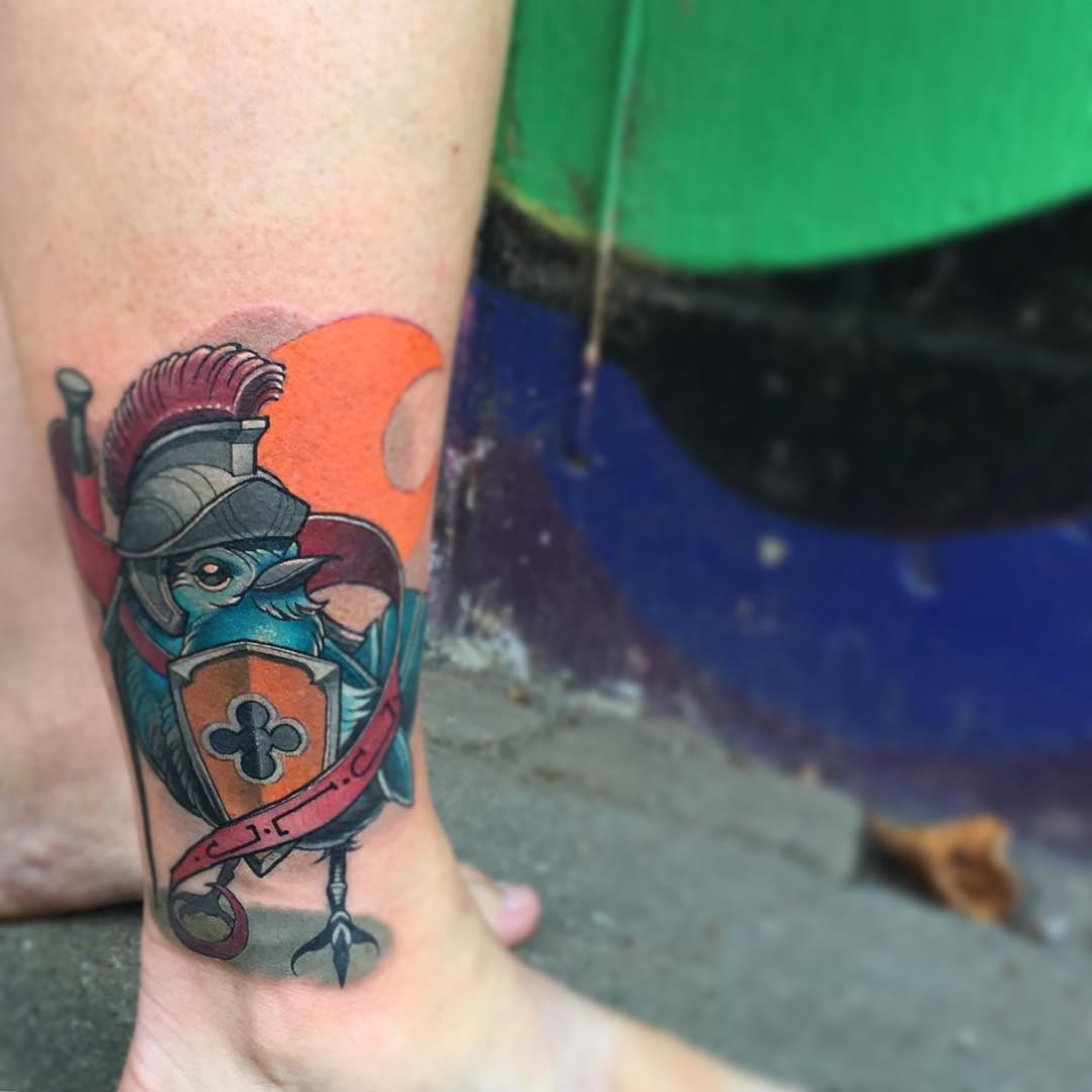 ankle tattoo bird knight