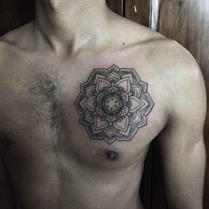 Mandala Tattoo on Left Chest
