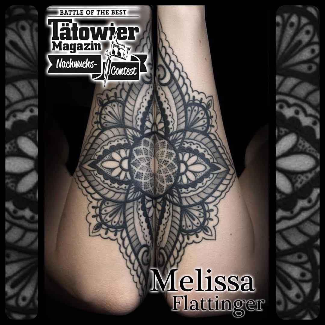 mandala tattoo matching on both arms