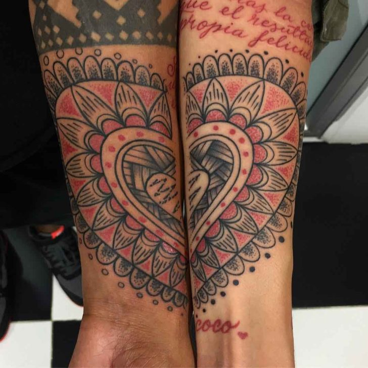 matching heart dotwork tattoo couples